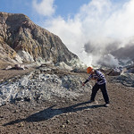 Tour guide from White Island Tours, White Island Volcano, Bay of Plenty, New Zealand