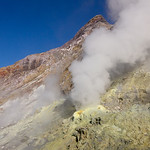 Sulporous gases escape from crators on White Island, Bay of Plenty, New Zealand